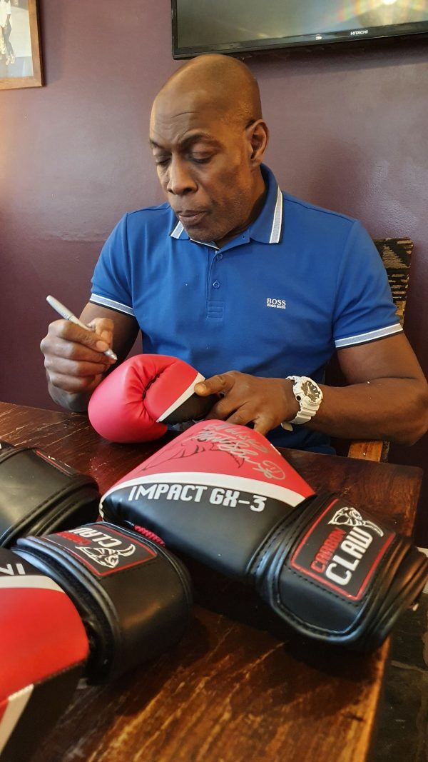 carbon claw large gloves signed by Frank Bruno