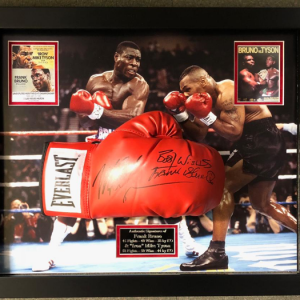 Frank Bruno and Mie Tyson frames signed glove