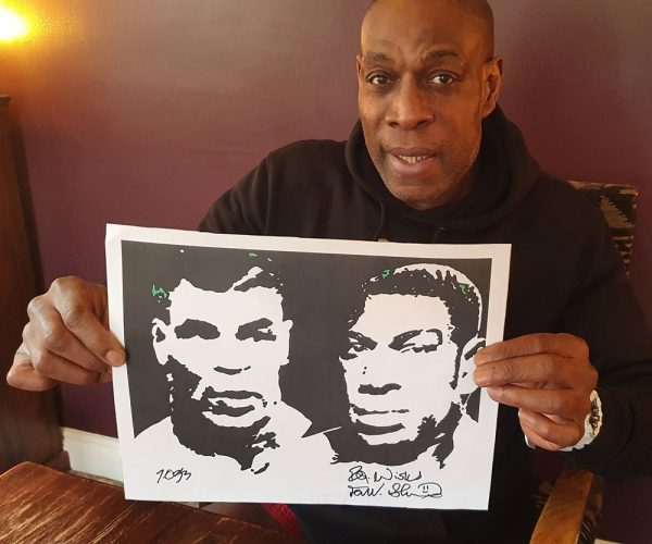 Frank Bruno signed print with Mike Tyson
