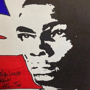 Union Jack signed Frank Bruno Print Framed