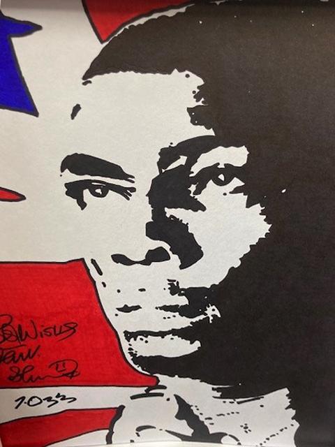 Union Jack signed Frank Bruno Print Framed