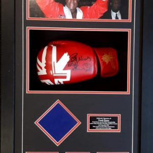 Frank bruno signed glove and canvas piece from 1995